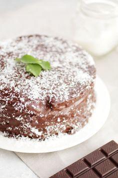 Torta al Cocco e Cioccolato Senza Zucchero e Senza Glutine