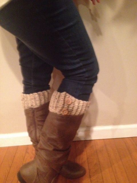 """This is a pattern for adjustable crocheted boot cuffs, attached by 1/4"""" buttons on the inside with fashionable buttons on the outside."""