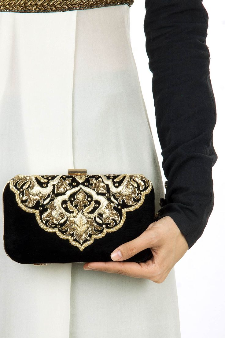 Black shehzad clutch available only at Pernia's Pop-Up Shop.