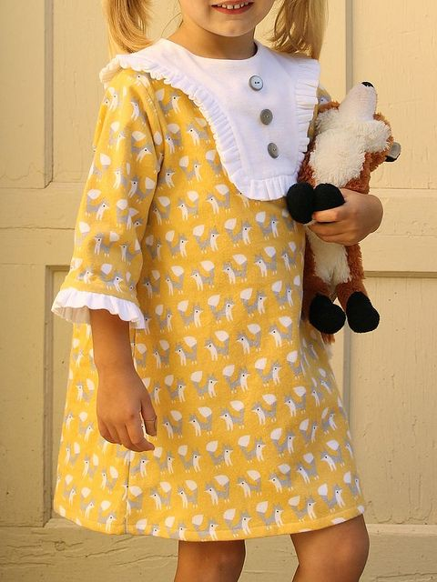 Charlie Dress in yellow fanfare fox flannel by madebyrae, via Flickr
