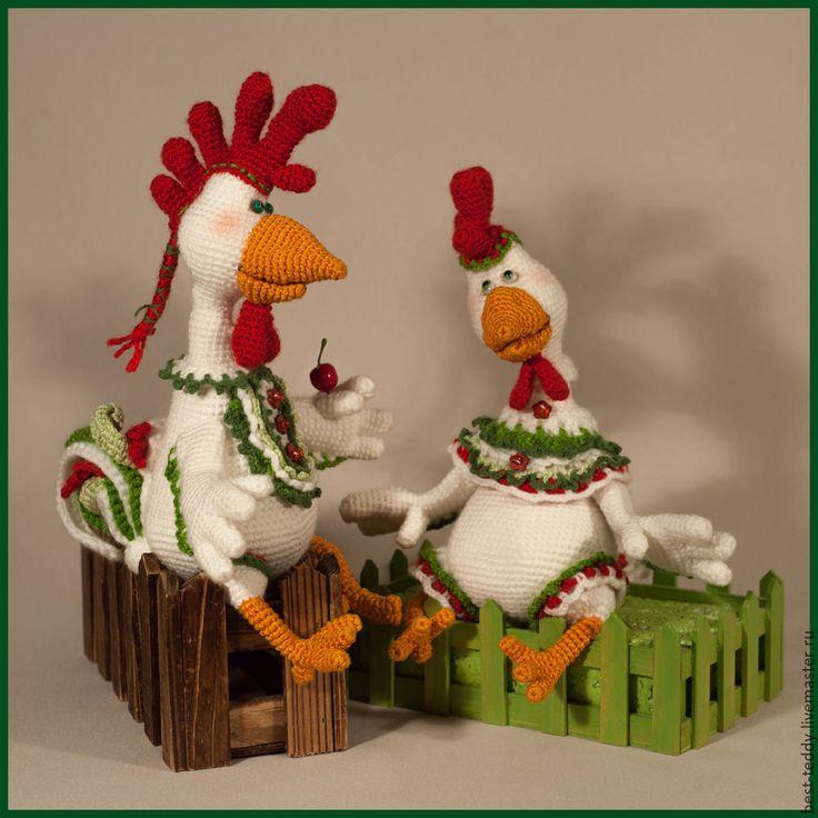 Купить Парочка - белый, петушок, курочка, курица, петух, прикольный подарок, ручная авторская работа