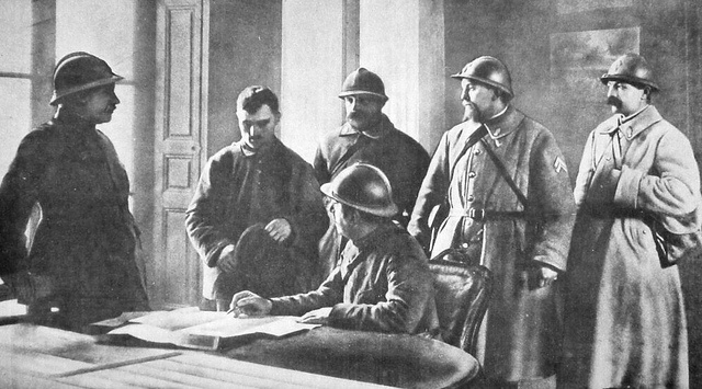 "Prisoner Interrogation    Too Idealistic? This looks a bit like a ""staged"" photo of prisoner interregation. But it's from a (French) 1915 magazine photo, and it looks like the French are interrogating a German (OR) soldier. I'll let the viewer judge this one. WW 1."