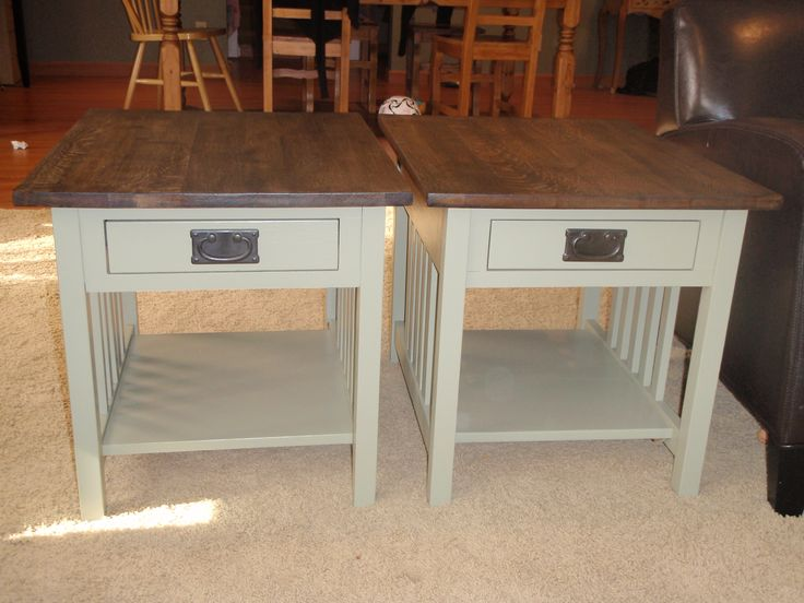 """Two """"mission-style"""" end tables that we took from 1990's orange/brown to this beautiful ebony wood stain on top and grey green base. We love these."""