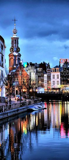 Twilight in Amsterdam, The Netherlands.