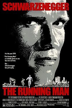 """The Running Man is a 1987 American science fiction Technicolor action film starring Arnold Schwarzenegger, María Conchita Alonso, Jesse Ventura, Jim Brown and Richard Dawson (in his final film). It is very loosely based on the 1982 novel The Running Man, written by Stephen King. The story, set in a dystopian United States between 2017 and 2019, is about a television show called """"The Running Man"""", where convicted criminal """"runners"""" must escape death at the hands of professional killers."""