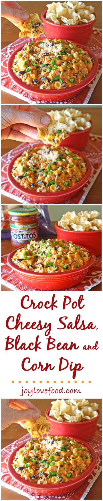 Crock Pot Cheesy Salsa, Black Bean and Corn Dip - a delicious, cheesy dip that is full of flavor and can be made and kept warm in the slow cooker, perfect for a game day get together. #GameDayGlory #ad