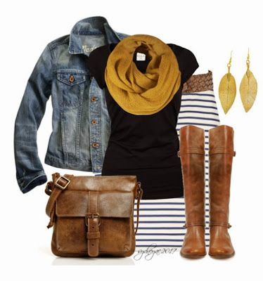 Striped maxi, denim jacket over a tee and a pop of color in the scarf. Perfect.