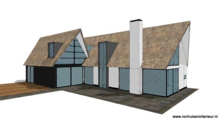 Impressie modern landdhuis met rieten kap landelijk wonen for Interieur moderne woning