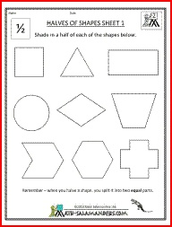 halves of shapes a fraction math worksheet involving shading half  halves of shapes a fraction math worksheet involving shading half of a  range of shapes  the little ones might need this  pinterest  math  worksheets