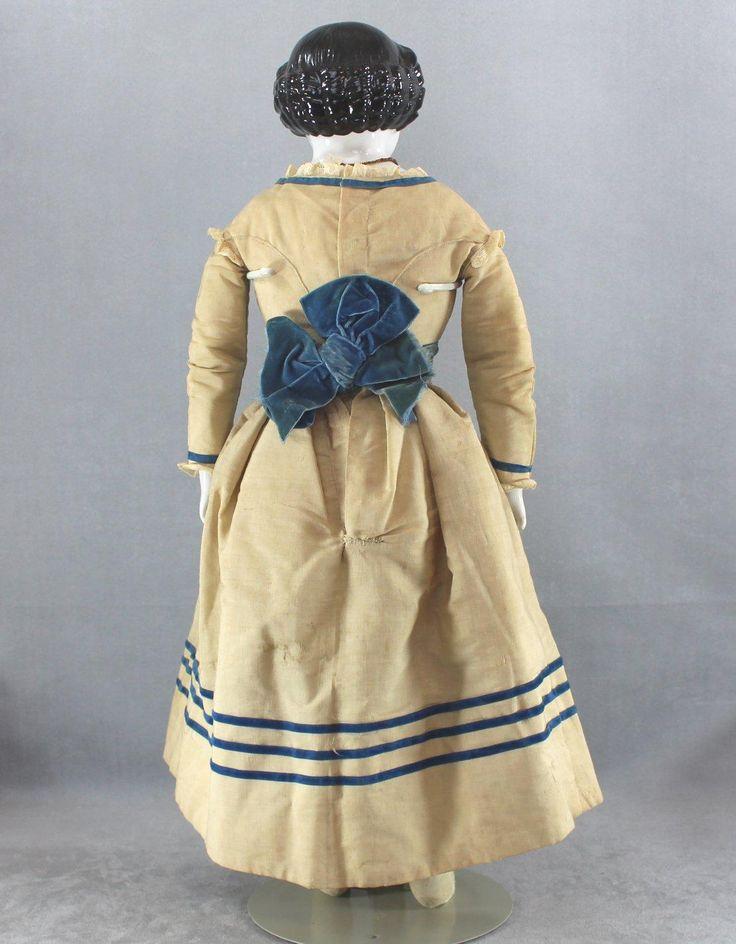 China Head Doll BROWN Eyes Large Size All Antique Civil War Era