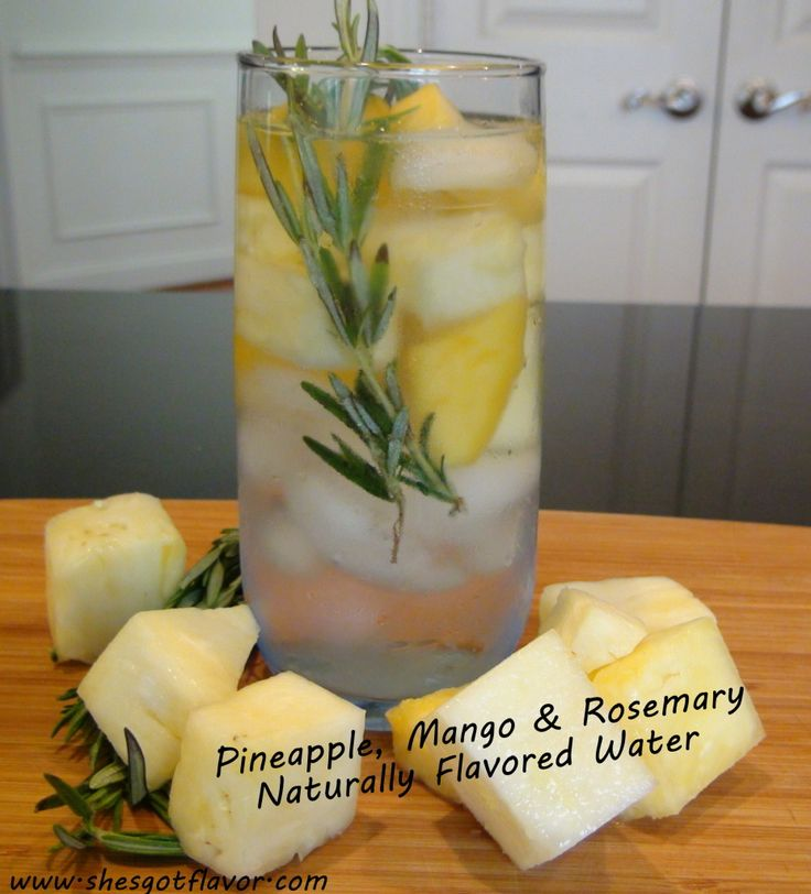 1)Pineapple, mango, rosemary 2)Strawberry, kiwi, thyme 3)Lemon, cucumber, mint 4)Orange, lemon, lime, cilantro