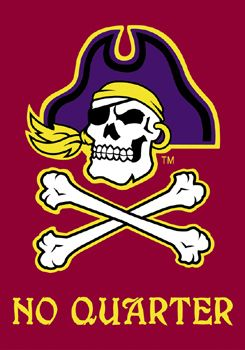 East Carolina Pirates NO QUARTER Premium 28x40 Banner Flag - ECU Football, Athletics-available at www.sportsposterwarehouse.com