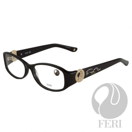 FERI - Cairo Black - Optical - FERI Optical glasses are manufactured in Italy - Black acetate optical glasses - Embellished with metal and clear stones - FERI logo on both outer arms - Rectangular frame shape - Comes with non-prescription plano Lens - Incredibly unique styling will turn heads  *FERI Optical glasses DO NOT come with prescription lenses. Please take the frames to your Optician to have your custom prescription lens installed.*