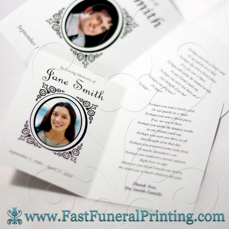 Personalized Funeral Thank You Cards - www.fastfuneralprinting.com