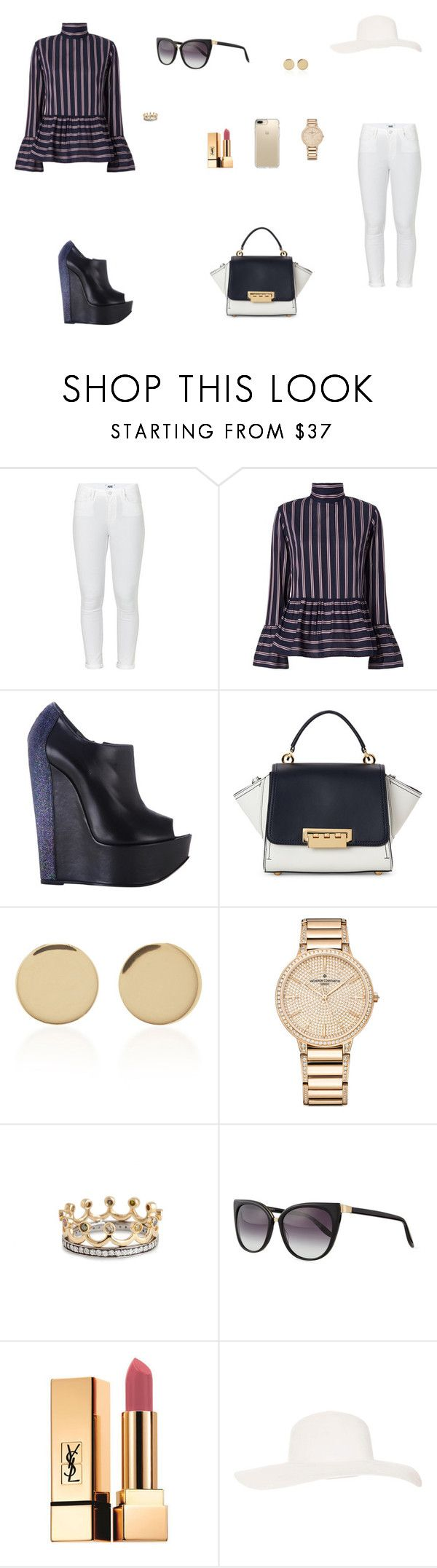 """Look do Dia"" by julianaf121 ❤ liked on Polyvore featuring Paige Denim, Le Sarte Pettegole, Ruthie Davis, ZAC Zac Posen, Magdalena Frackowiak, Vacheron Constantin, Bochic, Barton Perreira, Yves Saint Laurent and Topshop"