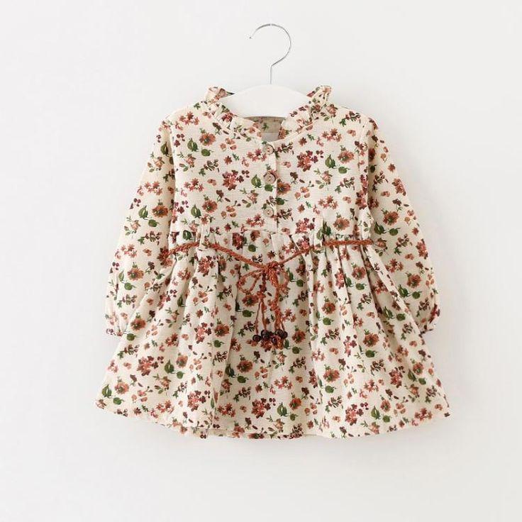 Aliexpress.com: Compre 2016 nova primavera meninas vestido de algodão floral de manga comprida vestido de meninas roupas GD 282 roupas recém nascido de confiança roupas de marca logotipo da águia fornecedores em Mommy Baby Paradise