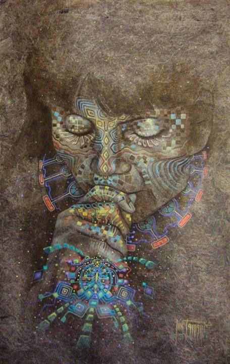 Luis Tamani Amasifuen is a shaman and visionary painter who documents his encounters with the plant teacher, Mother Ayahuasca. Portraying transcendental experiences of unity with nature,