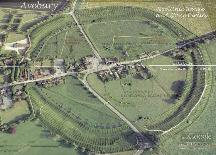 Avebury latitude aerial image illustrating ancient geodesy of monument placement, latitude equals one-seventh of circumference. Description from pinterest.com. I searched for this on bing.com/images