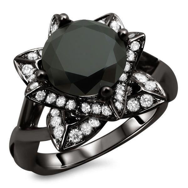 Idée et inspiration Bijoux :   Image   Description   Noori 14k Black Gold 2 1/2ct TDW Certified Black Lotus Flower Diamond Ring by Noori Collection