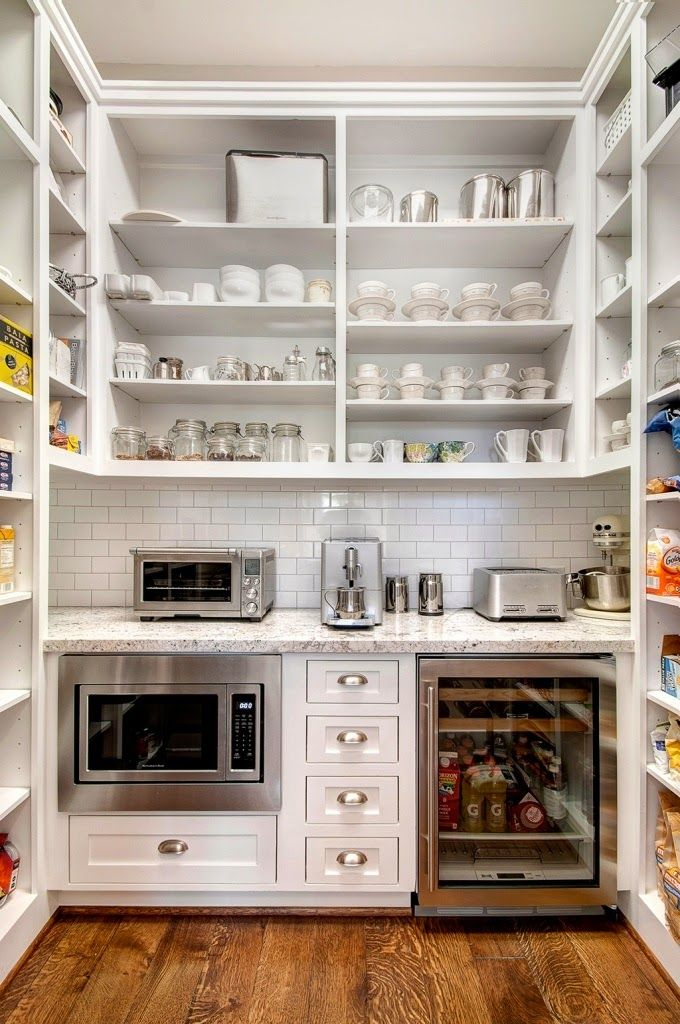 Traditional Pantry with Crown molding Subzero 24