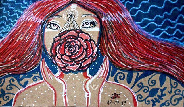 El mismo dibujo ya optimizado. #draw #drawing #rose #rosa #myart #art #handmade #visual #sketchbook #sketch #flower #flor #mujer #women #love #amor #intention #intencion #pen