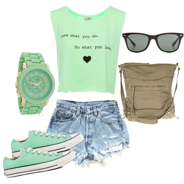"""high-waisted shorts and converse"" by bellalee2000 on Polyvore"
