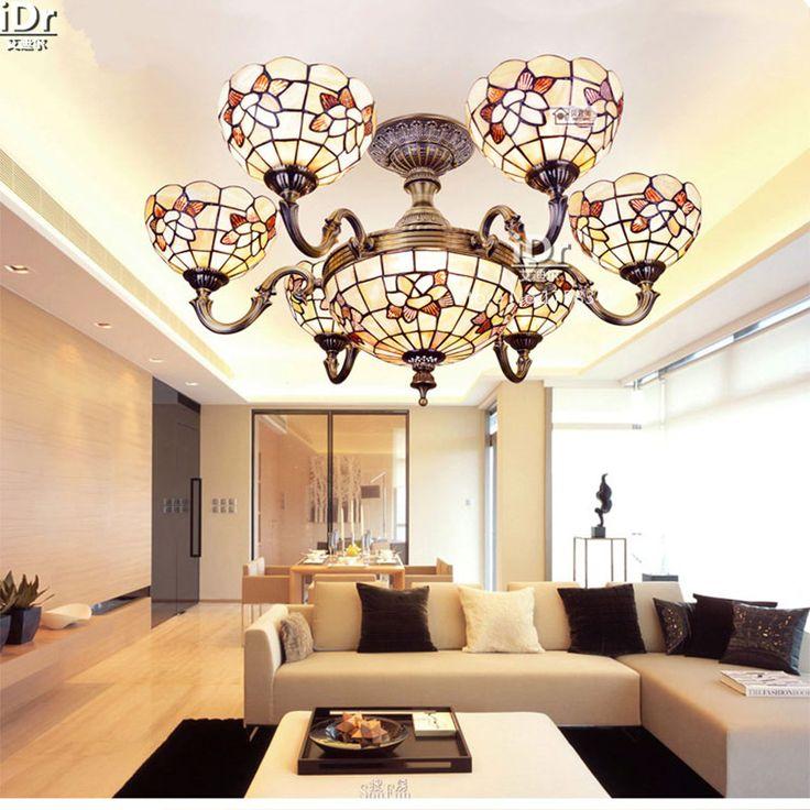 Vintage Six Jade Living Room Headlights Spend Half Shell Lamp 33 Inch Mediterranean Chandeliers