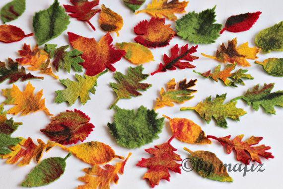 10 x große gefilzte Blätter bunt z. basteln und von mafiz auf Etsy