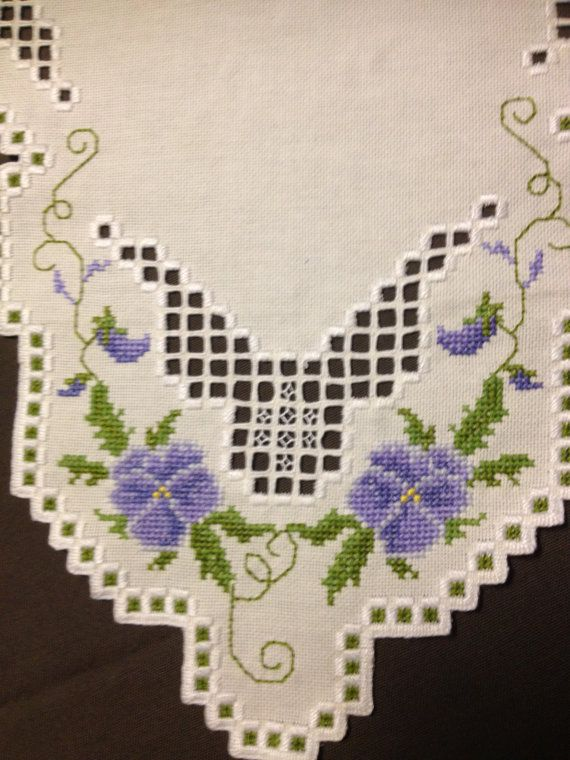 Hardanger embroidered linen tablecloth. Scandinavian handcraft. Purple and white