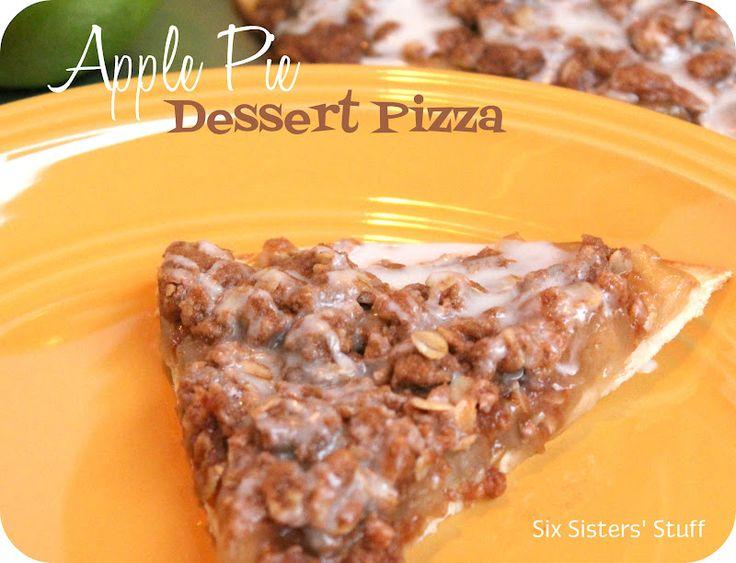 Apple Pie Dessert Pizza from sixsistersstuff.com.  A simple, tasty treat for Fall! #recipes #dessert #apple