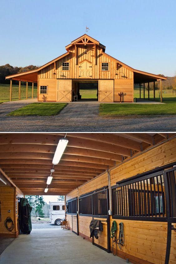 order a pre engineered traditional wood barn kit and get it shipped to your building site you can add an optional horse stall package too - Horse Barn Design Ideas
