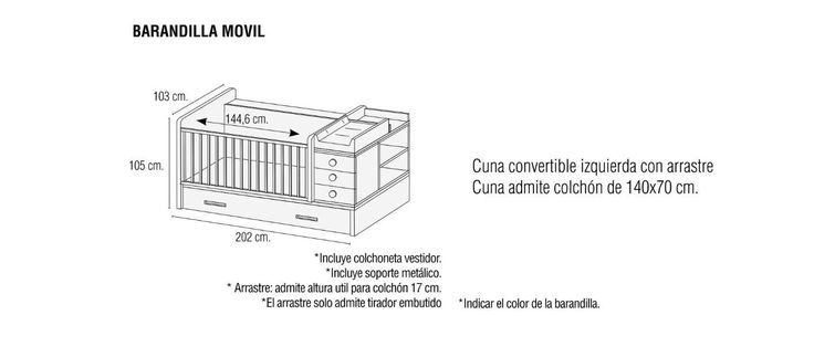 Resultado de imagen para medidas colchon cuna convertible