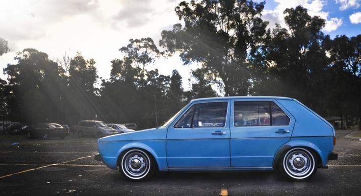 clean blue volkswagen rabbit mk1