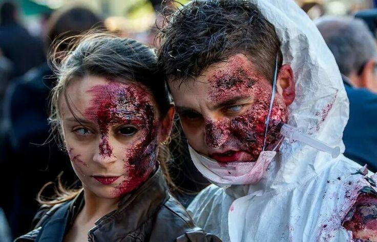 Ruben y vero marcha zombien madrid. Makeup.