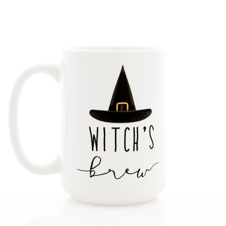 Generously sized coffee mug for your 'Witch's Brew'. Dishwasher and microwave safe. 15 ounce size.