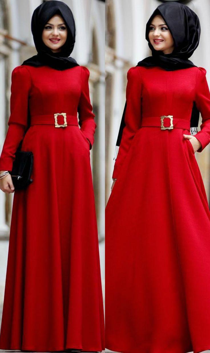 Latest Red Dress Winter Collection 2015. #reddress #hijab #hijabista #hijabsyari…