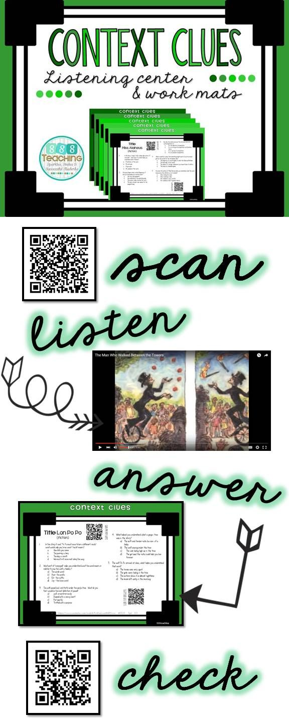 Worksheet 5 Context Clues 1000 images about context clues on pinterest qr listening center easy great engagement for grades 3 5