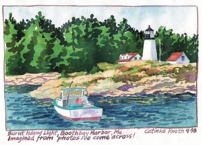 Burnt Island Lighthouse, Boothbay Harbor, Maine, original watercolor as printable notecard by CatinkArts on Etsy