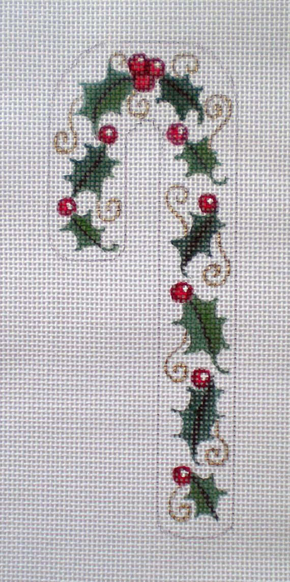 Handpainted Candy Cane Holly and Berries Needlepoint by colors1 (Craft Supplies & Tools, Sewing & Needlecraft Supplies, Canvas & Stitchables, ornament, holidays, christmas, pattern, cross stitch, embroidery, candy cane, holly, berries, needlepoint, needlepoint canvas, needlepoint ornament, needlecraft)