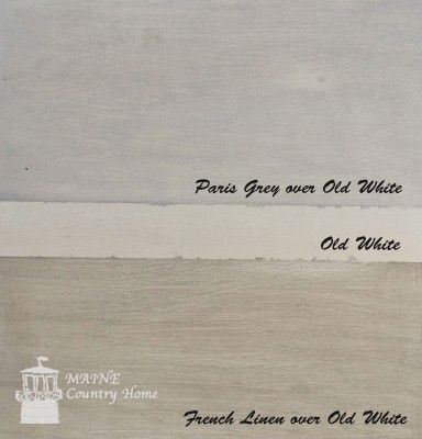 Restoration Hardware finish using AS Chalk Paint - shows examples of French linen & Paris gray washed on each other.
