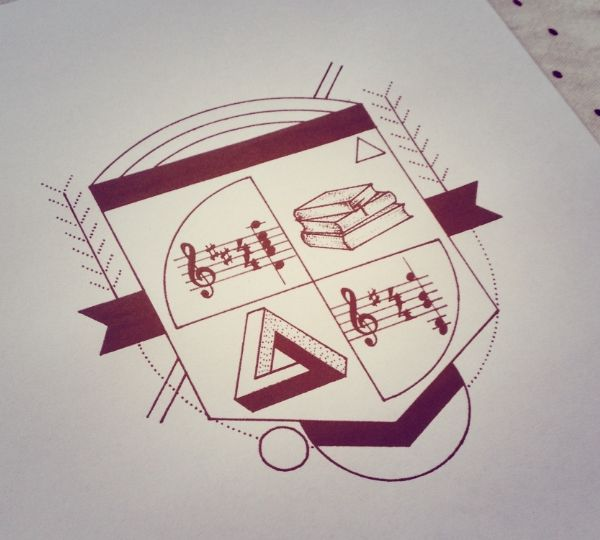 Minimal and modern family crest tattoo design | Graphic
