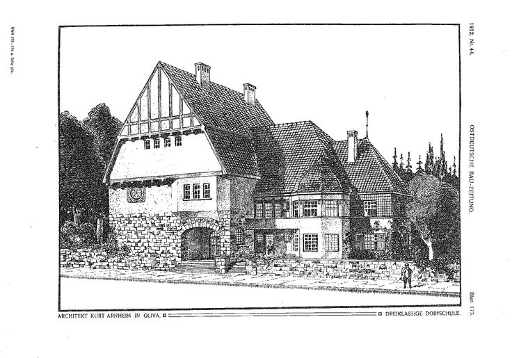 Wiejska szkoła. Arch. Kurt Arnheim, Oliwa, 1911 http://szukamy.org/projekty-dla-gdanskiej-oliwy-architekt-kurt-arnheim/
