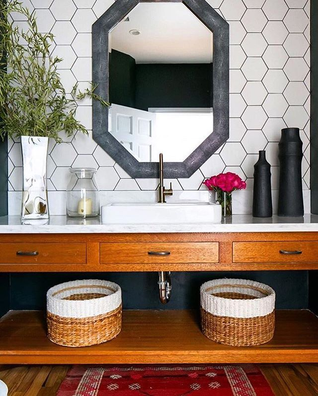 It's true, when we saw this bathroom show up in our #myoklstyle feed...our jaws literally dropped!! Those hexagon tiles paired with a slate grey wall mirror found #onOneKingsLane is perfection! ✨Tap the link in our profile to shop this look!✨ Thanks for sharing your gorgeous snap, @prairie_home_styling.  #regram