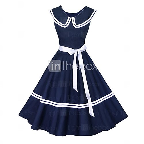 Maggie Tang Women's 50s Vintage Nautical Sailor Rockabilly Hepburn Pinup Business Swing Dress 526 - USD $37.99