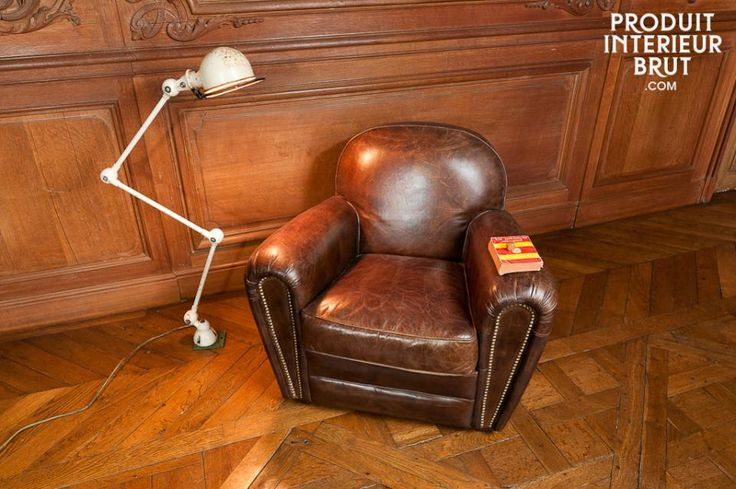 This typical English gentlemen's club strong leather armchair is made of aged pigmented leather, and exudes a retro style that gives it all its charm. Discover the Cigar club leather armchair at https://www.pib-home.co.uk/ the specialist in vintage furniture, lighting, and decorating style.