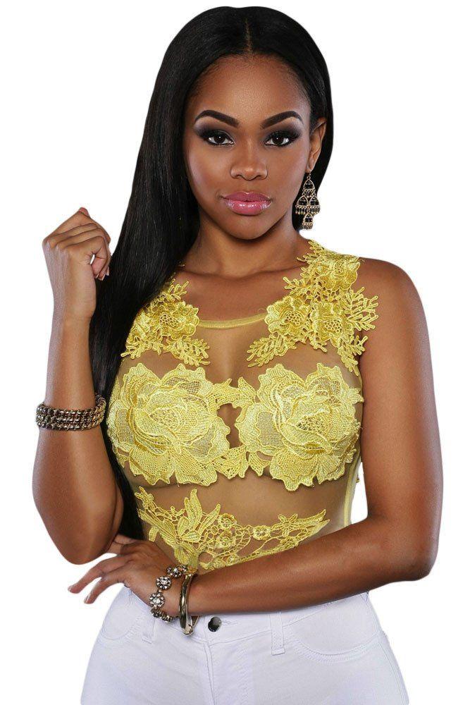 Teddies Lingerie Jaune Mesh Lace Applique Bodysuit Modebuy