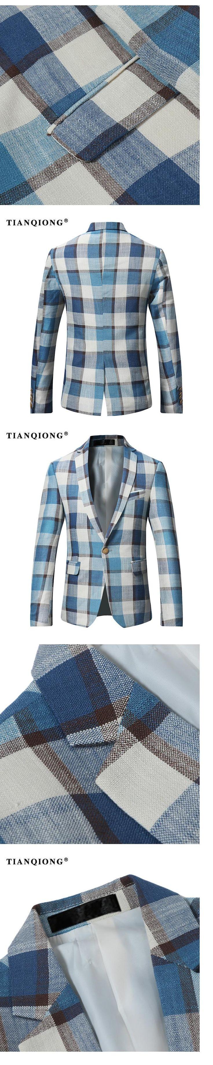 TIAN QIONG 2017 New Men's Casual Blazer Slim Fit Fashion Plaid Blazer Men Top Quality Black Blazers Size S-4XL Blazer Masculino
