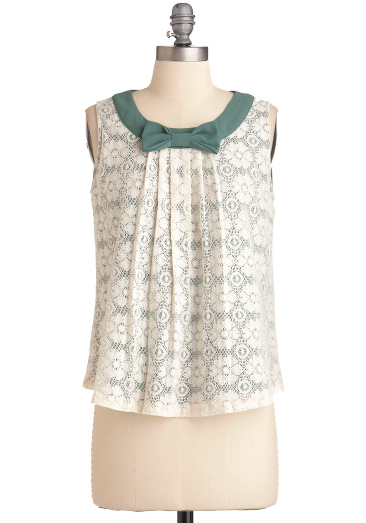 Ivory lace over green & bowBlouses, Style, Refashion Modcloth, Tops 45, Forests Places, Tops 44 99, Sleeve Shirts, Places Tops, Bows Tops