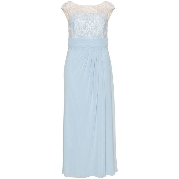 Weise Light-Blue / Cream Plus Size Sequin lace evening dress (9,990 PHP) ❤ liked on Polyvore featuring dresses, plus size, cocktail maxi dresses, plus size dresses, light blue cocktail dress, light blue dress and cocktail dresses