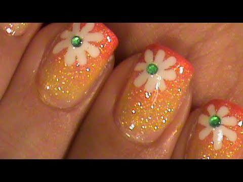 Summer Flower Short Nails Ombre Gradient Nail Art Design Tutorial Video - http://www.nailtech6.com/summer-flower-short-nails-ombre-gradient-nail-art-design-tutorial-video/
